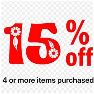 15% off 4 or more Purchased
